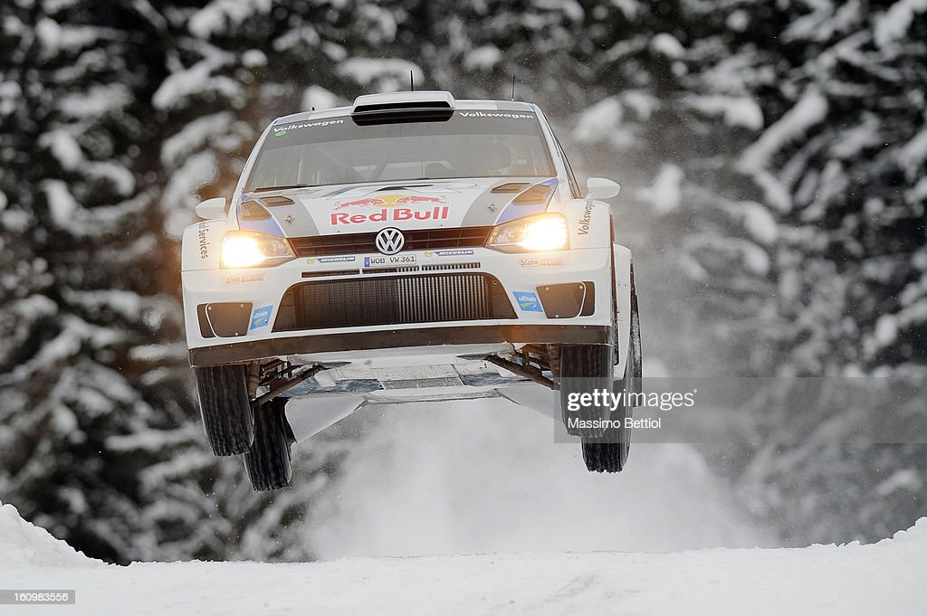 <a gi-track='captionPersonalityLinkClicked' href=/galleries/search?phrase=Sebastien+Ogier&family=editorial&specificpeople=4946813 ng-click='$event.stopPropagation()'>Sebastien Ogier</a> of France and <a gi-track='captionPersonalityLinkClicked' href=/galleries/search?phrase=Julien+Ingrassia&family=editorial&specificpeople=4947850 ng-click='$event.stopPropagation()'>Julien Ingrassia</a> of France compete in their Volkswagen Motorsport Volkswagen Polo R WRC during Day One of the WRC Sweden on February 08 , 2013 in Karlstad , Sweden.