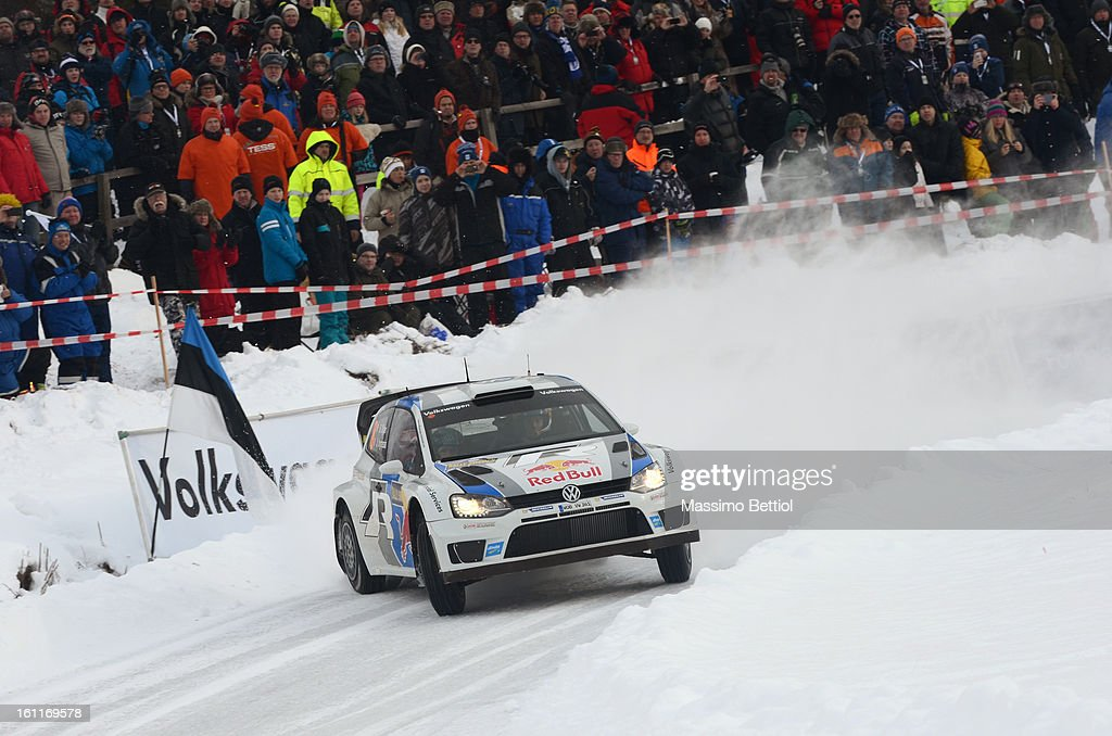 <a gi-track='captionPersonalityLinkClicked' href=/galleries/search?phrase=Sebastien+Ogier&family=editorial&specificpeople=4946813 ng-click='$event.stopPropagation()'>Sebastien Ogier</a> of France and <a gi-track='captionPersonalityLinkClicked' href=/galleries/search?phrase=Julien+Ingrassia&family=editorial&specificpeople=4947850 ng-click='$event.stopPropagation()'>Julien Ingrassia</a> of France compete in their Volkswagen Motorsport Volkswagen Polo R WRC during Day Two of the WRC Sweden on February 09 , 2013 in Karlstad , Sweden.