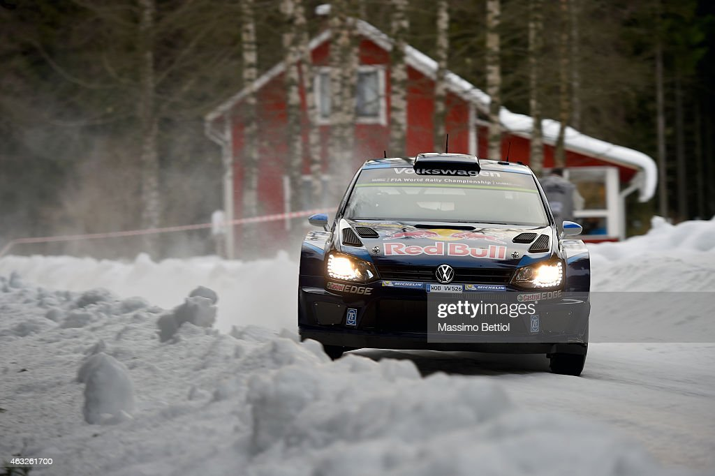 Sebastien Ogier of France and Julien Ingrassia of France compete in their Volkswagen Motorsport Volkswagen Polo R WRC during the Shakedown of the WRC...