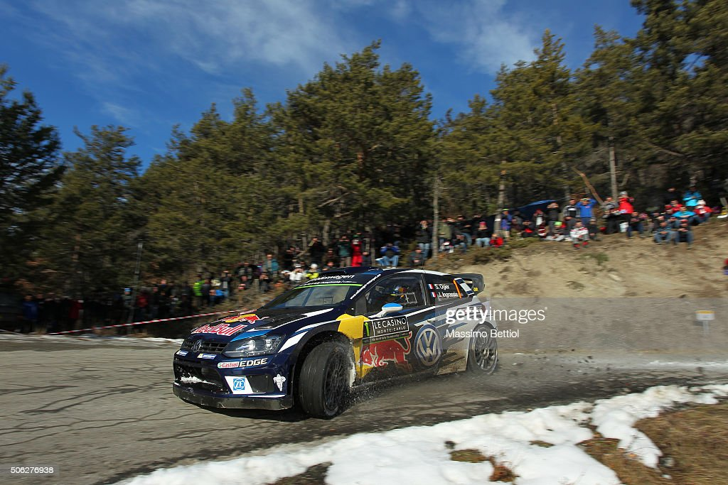 Sebastien Ogier of France and <a gi-track='captionPersonalityLinkClicked' href=/galleries/search?phrase=Julien+Ingrassia&family=editorial&specificpeople=4947850 ng-click='$event.stopPropagation()'>Julien Ingrassia</a> of France compete in their Volkswagen Motorsport Volkswagen Polo R WRC during Day Two of the WRC Monte Carlo on January 22, 2016 in Gap, France.
