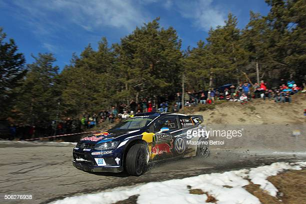 Sebastien Ogier of France and Julien Ingrassia of France compete in their Volkswagen Motorsport Volkswagen Polo R WRC during Day Two of the WRC Monte...
