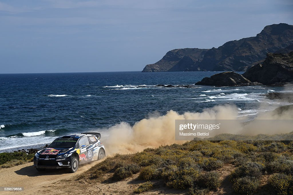 Sebastien Ogier of France and Julien Ingrassia of France compete in their Volkswagen Motorsport WRT Volkswagen Polo R WRC during Day Three of the WRC Italy Sardegna on June 12, 2016 in Alghero, Italy.