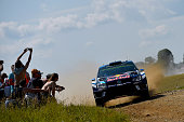 Sebastien Ogier of France and Julien Ingrassia of France compete in their Volkswagen Motorsport WRT Volkswagen Polo R WRC during the Shakedown of the...