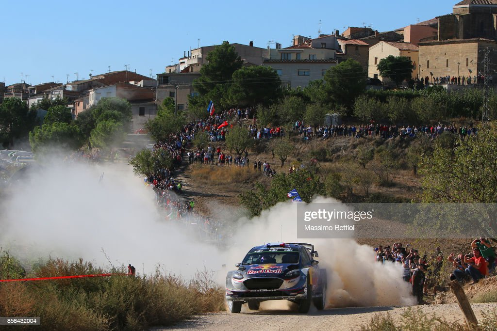 Sebastien Ogier of France and Julien Ingrassia of France compete in their M-Sport WRT Ford Fiesta WRC during Day One of the WRC Spain on October 6, 2017 in Salou, Spain.