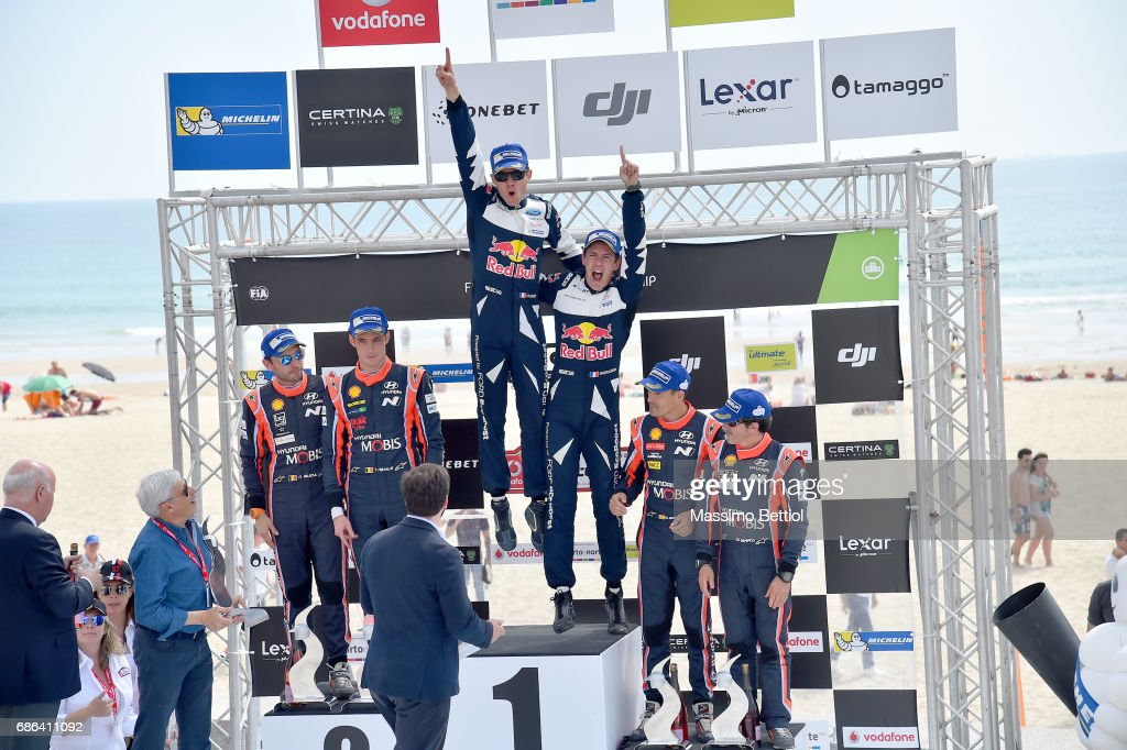 Sebastien Ogier of France and Julien Ingrassia of France; Thierry Neuville of Belgium and Nicolas Gilsoul of Belgium; Daniel Sordo of Spain and Marc Marti of Spain celebrate the final podium in Matosinhos during Day Three of the WRC Portugal on May 21, 2017 in Faro, Portugal.