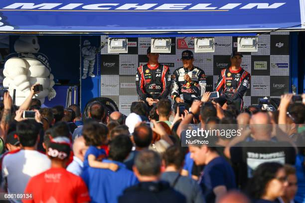 Sebastien Ogier Thierry Neuville Dani Sordo during the assistance park of WRC Vodafone Rally de Portugal 2017 at Matosinhos in Portugal on May 20 2017