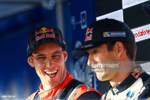 Sebastien Ogier Thierry Neuville during the assistance park of WRC Vodafone Rally de Portugal 2017 at Matosinhos in Portugal on May 20 2017