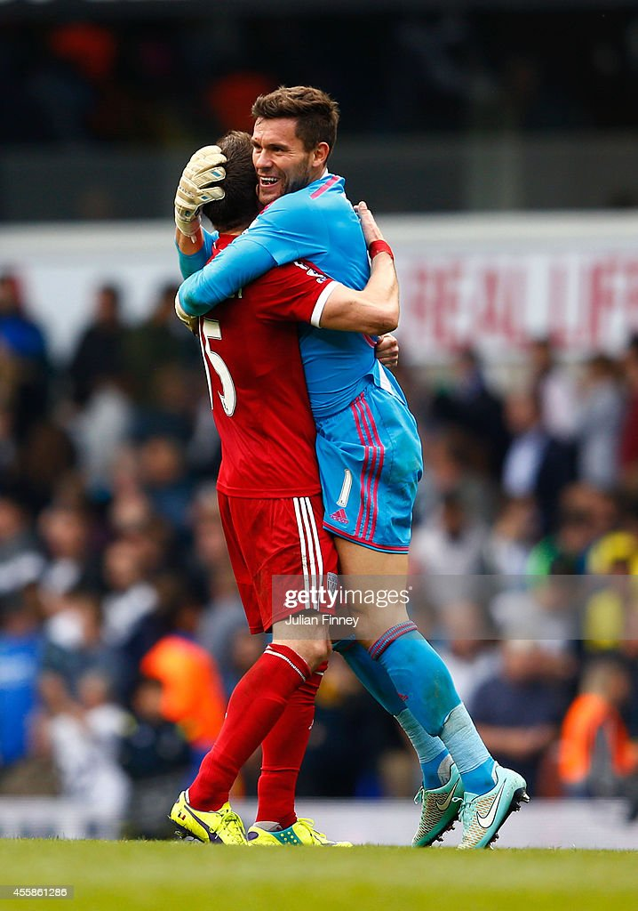 Sebastien Pocognoli of West Brom and Ben Foster of West Brom celebrate following their team's 1-0 victory during the Barclays Premier League match between Tottenham Hotspur and West Bromwich Albion at White Hart Lane on September 21, 2014 in London, England.