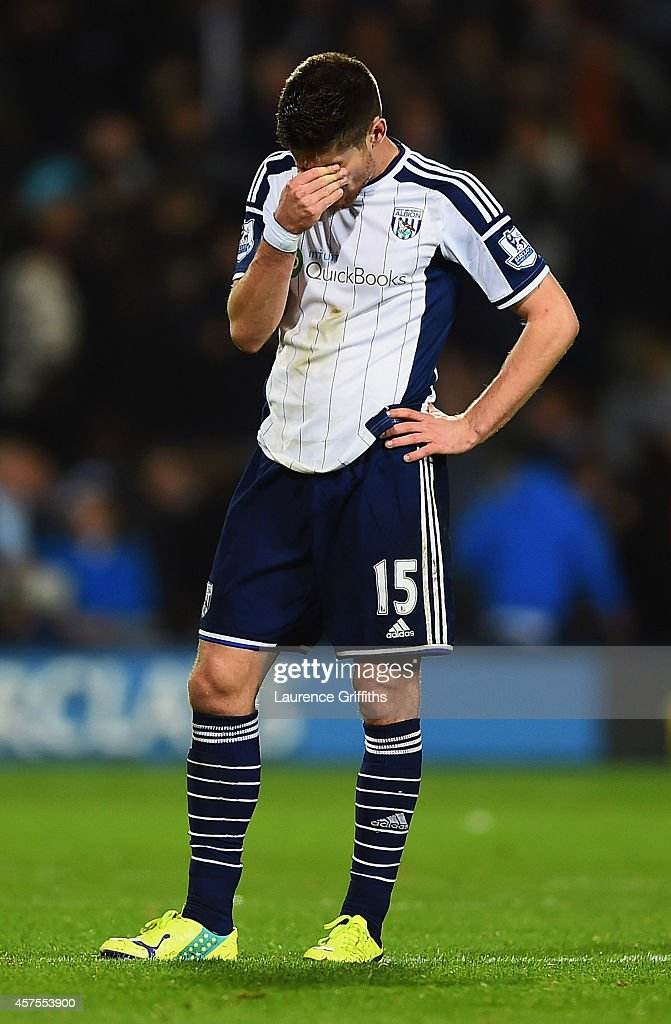 <a gi-track='captionPersonalityLinkClicked' href=/galleries/search?phrase=Sebastien+Pocognoli&family=editorial&specificpeople=3942105 ng-click='$event.stopPropagation()'>Sebastien Pocognoli</a> of West Bromwich Albion reacts after the Barclays Premier League match between West Bromwich Albion and Manchester United at The Hawthorns on October 20, 2014 in West Bromwich, England.