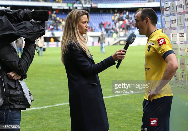 Sebastien Roudet of Sochaux answers to the Beinsport tv reporter Anne Laure Bonnet during the French Ligue 1 match between FC Sochaux Montbeliard and...