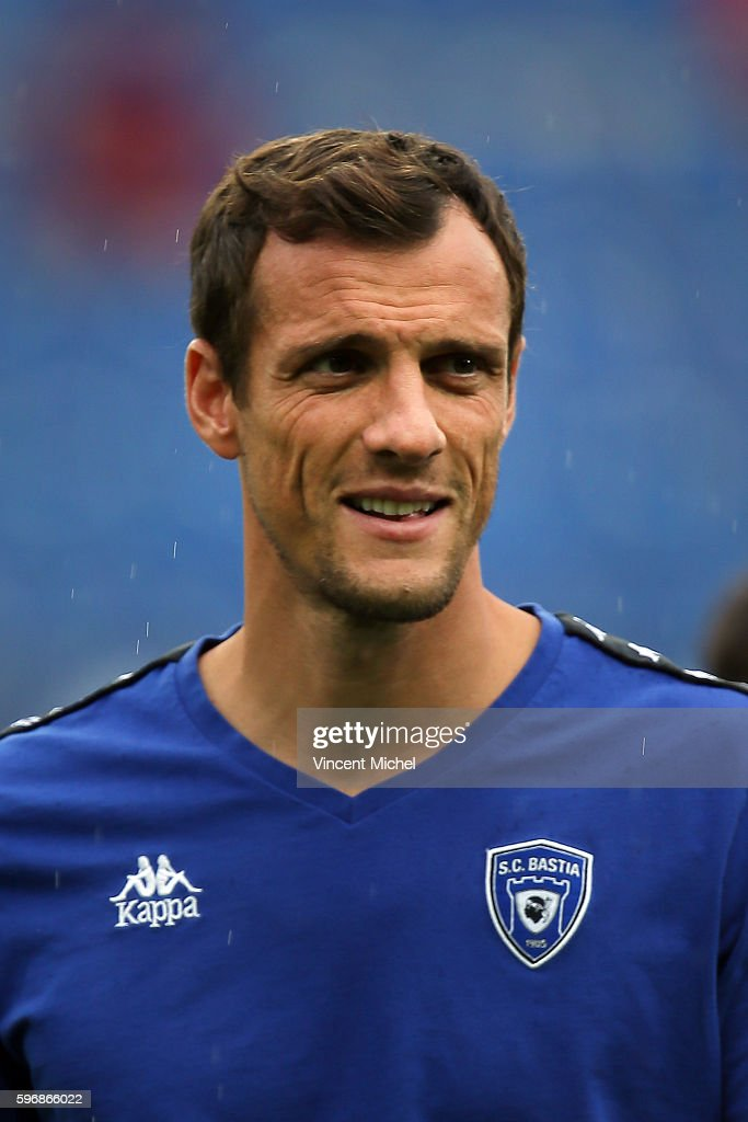 Sebastien Squillacci of Bastia during the French Ligue 1 match between SM Caen an Bastia at Stade Michel D'Ornano on August 27 2016 in Caen France