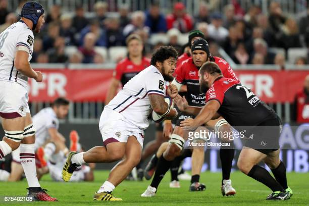 Sebastien Taofifenua of Bordeaux during the French Top 14 match between Union Bordeaux Begles and RC Toulon on April 29 2017 in Bordeaux France