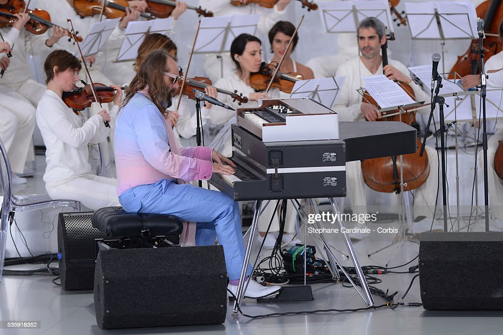 Sebastien Tellier performs during the Chanel show as part of Paris Fashion Week Haute-Couture Spring/Summer 2014, at Grand Palais in Paris.