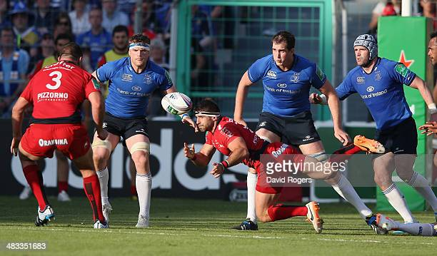 Sebastien Tillous Borde of Toulon passes the ball during the Heineken Cup quarter final match between Toulon and Leinster at the Felix Mayol Stadium...