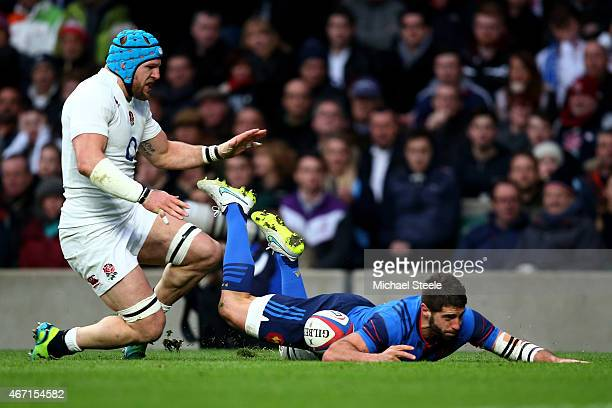 Sebastien TillousBorde of France beats James Haskell of England to score his team's first try during the RBS Six Nations match between England and...
