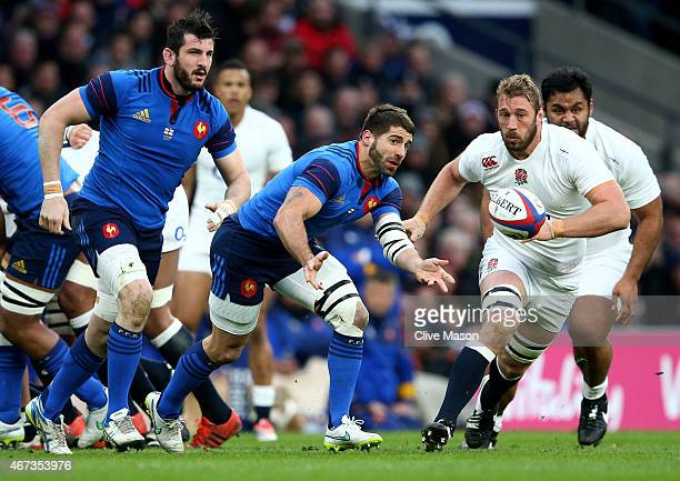 Sebastien TillousBorde of France passes the ball during the RBS Six Nations match between England and France at Twickenham Stadium on March 21 2015...