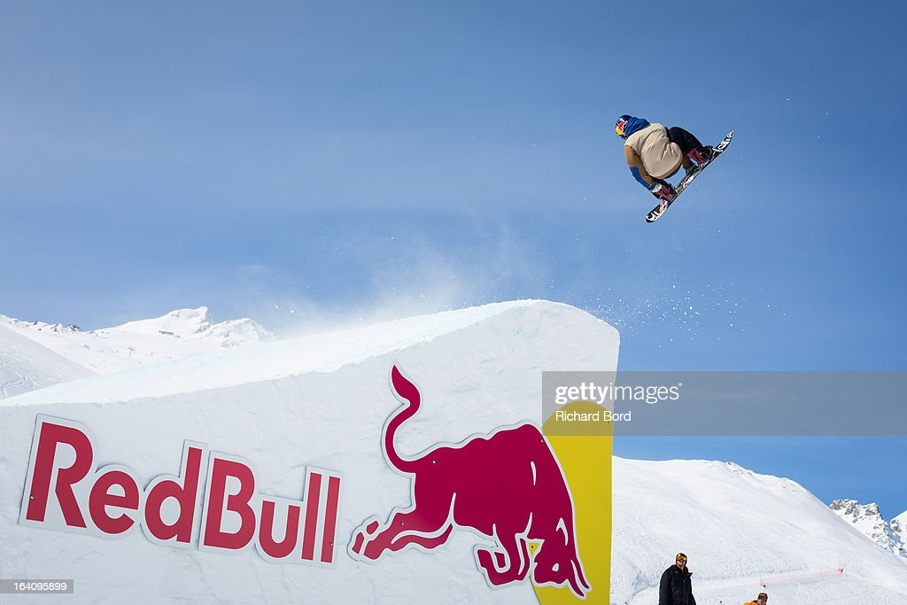 Sebastien Toutant of Canada performs during the Slopestyle snowboard training sessions during day two of Winter X Games Europe 2013 on March 19, 2013 in Tignes, France.