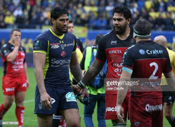 Sebastien Vahaamahina of ASM Clermont Romain Taofifenua of RC Toulon following the European Rugby Champions Cup quarter final match between ASM...