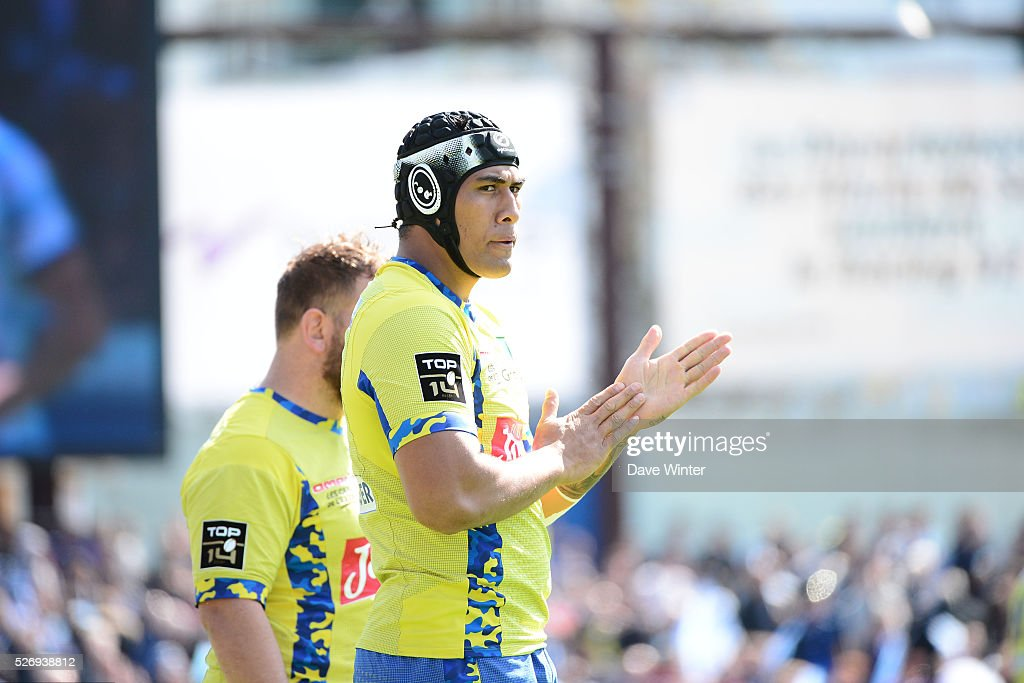Sebastien Vahaamahina of Clermont during the French Top 14 rugby union match between Racing 92 v Clermont at Stade Yves Du Manoir on May 1, 2016 in Colombes, France.