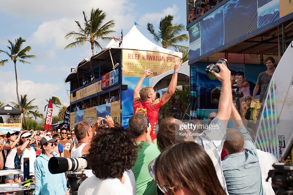 Sebastien Ziets of Kauai, Hawaii won the 2012 REEF Hawaiian Pro at Ali'i Beach Park on November 24, 2012 in Haleiwa, Hawaii.