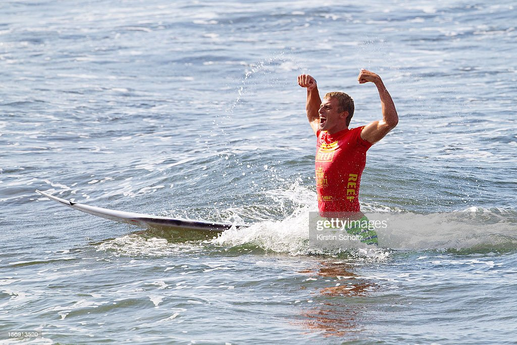 Sebastien Zietz of Hawaii celebrates his victory at the Reef Hawaiian Pro on November 24, 2012 in Haleiwa, Hawaii.
