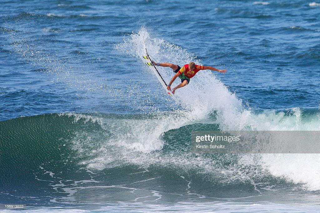 Sebastien Zietz of Hawaii surfs to victory at the Reef Hawaiian Pro on November 24, 2012 in Haleiwa, Hawaii.