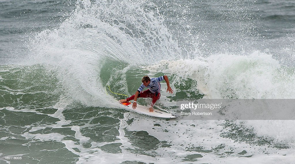 Sebastien Zietz of Hawaii winning his round two heat of the Rip Curl Pro on March 31, 2013 in Bells Beach, Australia.