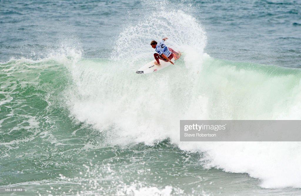 Sebastien Zietz of Hawaii winning his round two heat of the Rip Curl Pro on March 31, 2013 in Bells Beach, Australia.