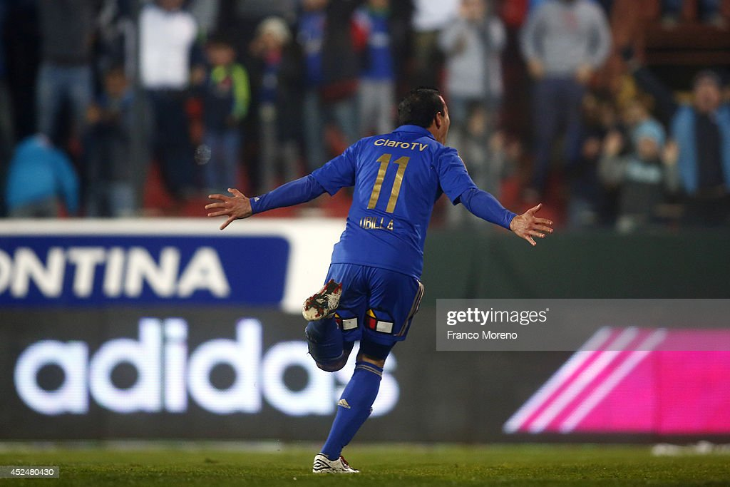 Sebasti‡n Ubilla of U de Chile celebrates after scoring his team's second goal during a match between U de Chile and Cobresal as a part of first round of Torneo Apertura 2014 at Santa Laura-Universidad SEK Stadium on July 20, 2014, in Santiago, Chile.