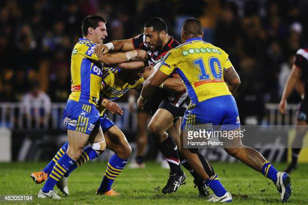 Sebastine Ikahihifo of the Warriors charges forward during the round 18 NRL match between the New Zealand Warriors and the Parramatta Eels at Mt...