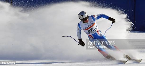 Sebastlen FournierBidoz of France sprays snow after crossing the finish line during the first training run on the men's downhill course at the Lake...