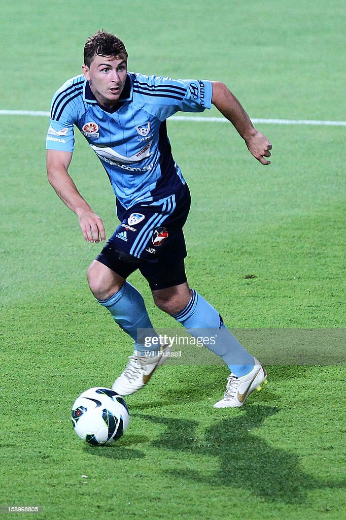 Sebatian Ryall of Sydney looks to pass the ball during the round 15 A-League match between the Perth Glory and Sydney FC at nib Stadium on January 5, 2013 in Perth, Australia.