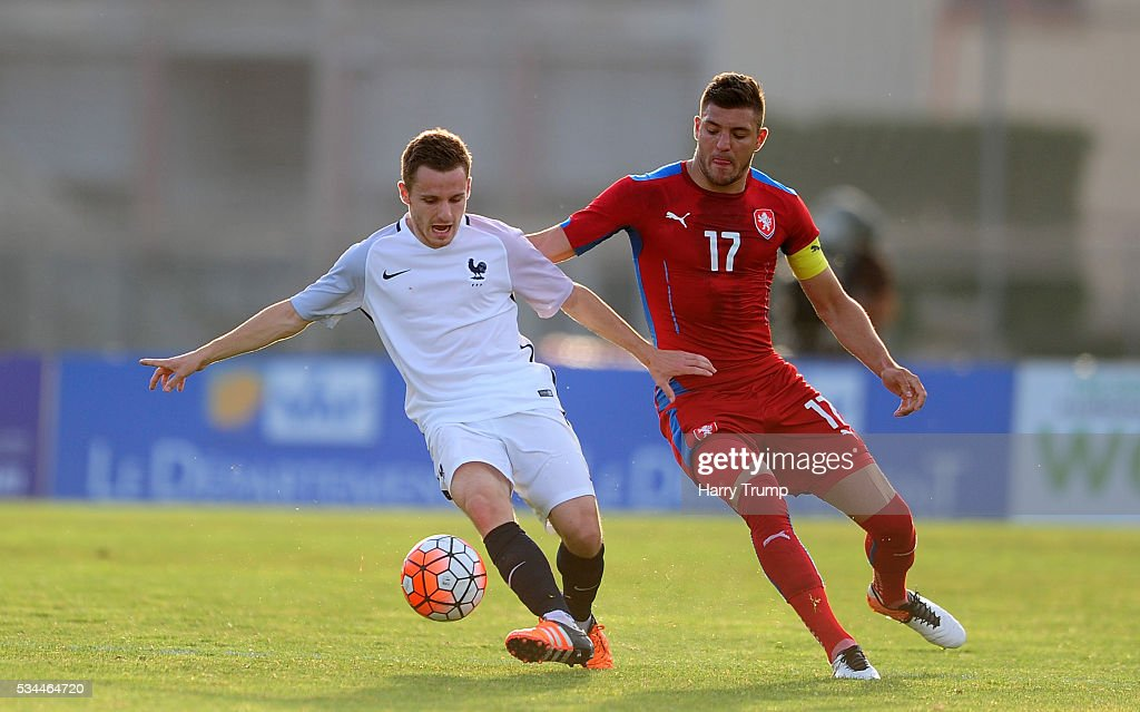Sebestien Salles Lamonge of France is tackled by Patrizio Stronati of Czech Republic during the Toulon Tournament match between France and Czech Republic at the Stade Leo Lagrange on May 26, 2016 in Toulon, France.