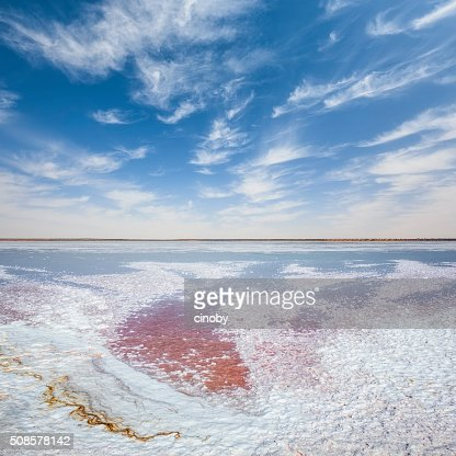 Sebkhet el Melah salt lake near Zarzis oasis in Tunisia : Stock Photo