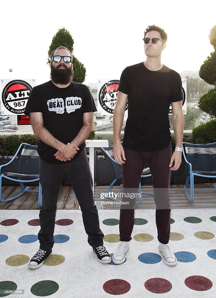Sebu Simonian and Ryan Merchant of Capital Cities attend the ALT 987FM penthouse party concert series at The Historic Hollywood Tower on July 29 2014...