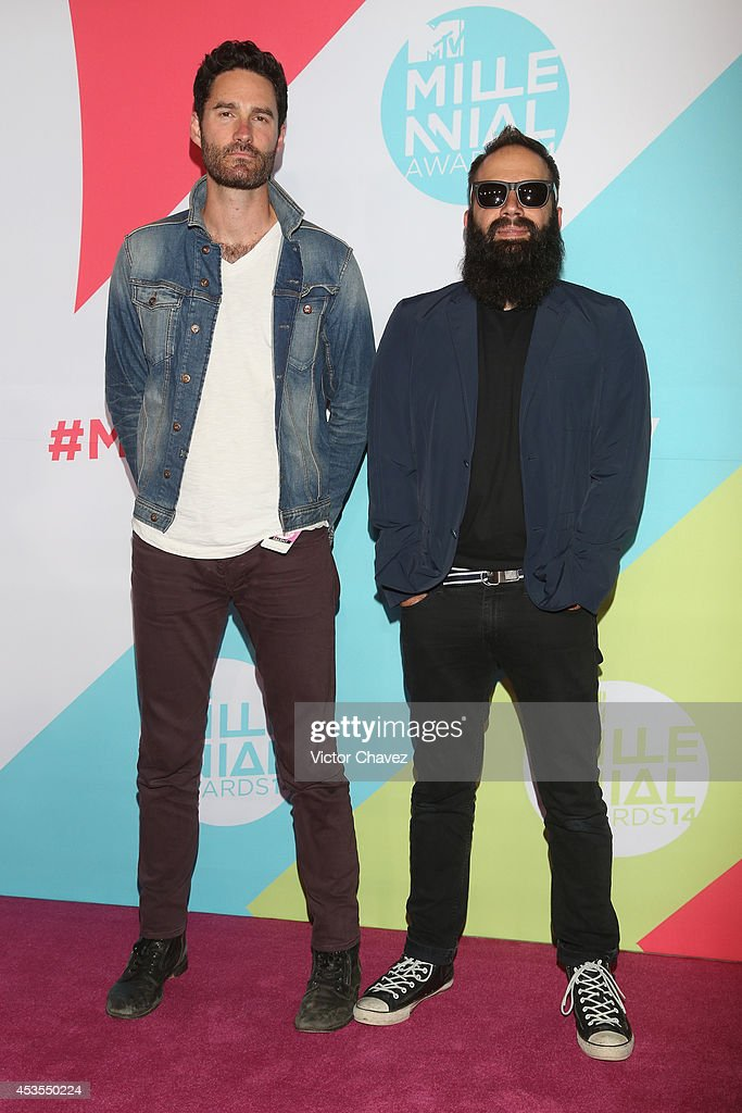 Sebu Simonian and Ryan Merchant of Capital Cities attend the MTV Millennial Awards 2014 red carpet at Pepsi Center WTC on August 12 2014 in Mexico...