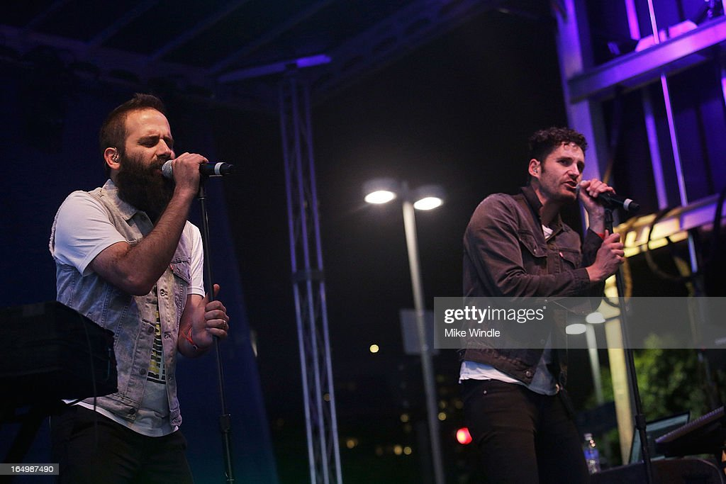 Sebu Simonian (L) and Ryan Merchant of Capital Cities perform during the L.A. LIVE College Basketball Fan Fest at Nokia Plaza L.A. LIVE on March 29, 2013 in Los Angeles, California.