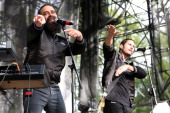 Sebu Simonian and Ryan Merchant of Capital Cities perform during the 2014 Sweetlife Music Food Festival at Merriweather Post Pavillion on May 10 2014...