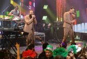 Sebu Simonian and Ryan Merchant of Capital Cities perform on Dick Clark's New Year's Rockin' Eve with Ryan Seacrest 2014 on December 31 2013 in Los...
