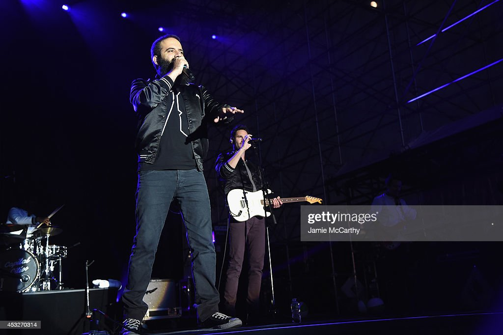 Sebu Simonian and Ryan Merchant of Capital Cities perform onstage at the Drop Your Pants and Dance for Underwareness Concert hosted by Depend on...