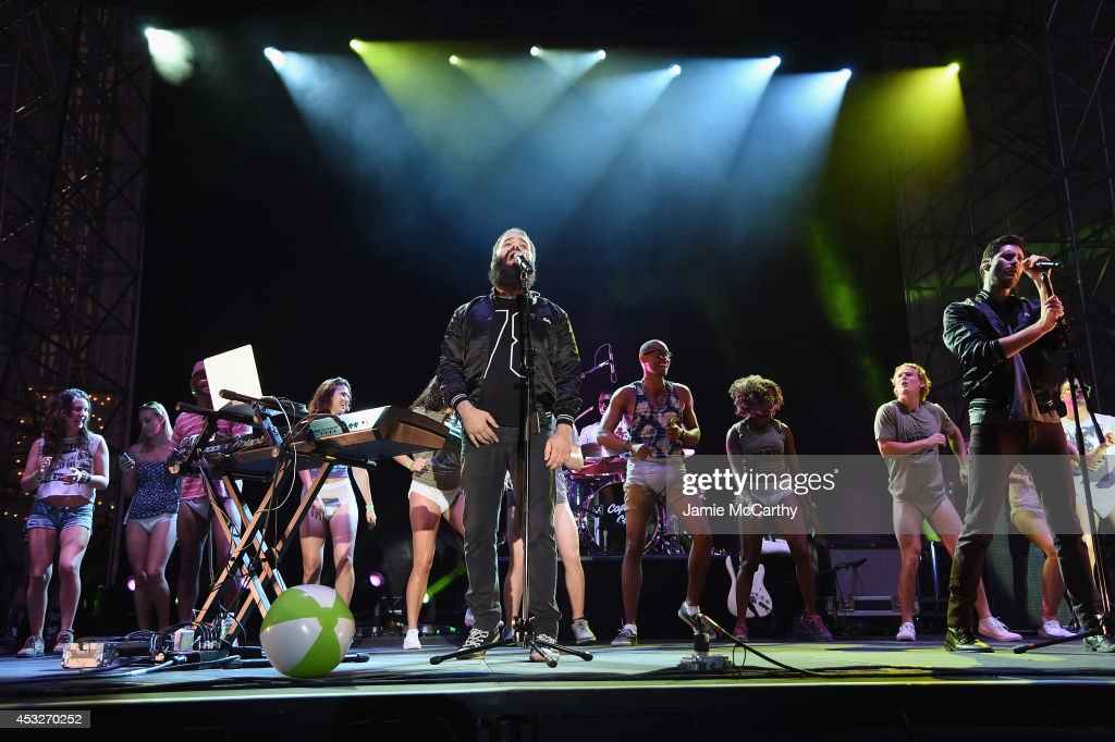 Sebu Simonian and Ryan Merchant of Capital Cities performs onstage at the Drop Your Pants and Dance for Underwareness Concert hosted by Depend on...