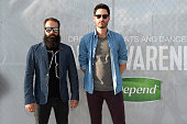 Sebu Simonian and Ryan Merchant of Capital Cities pose at the Drop Your Pants and Dance for Underwareness Concert hosted by Depend on August 6 2014...
