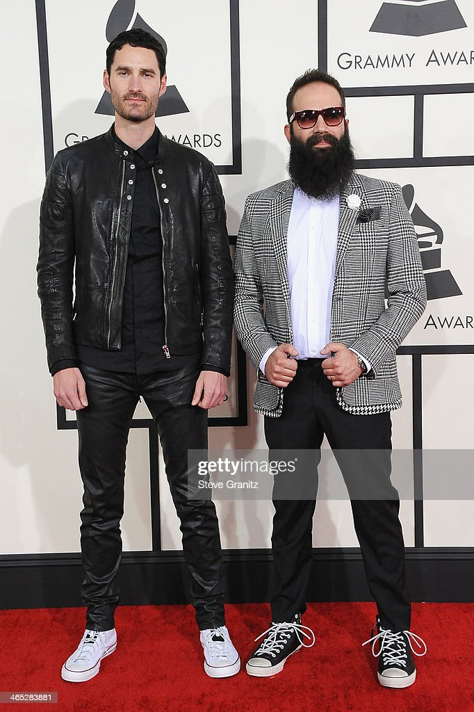 Sebu Simonian and Ryan Merchant of the band Capital Cities featured wearing Converse in support of the GRAMMY Foundation's GRAMMY Camp attend the...