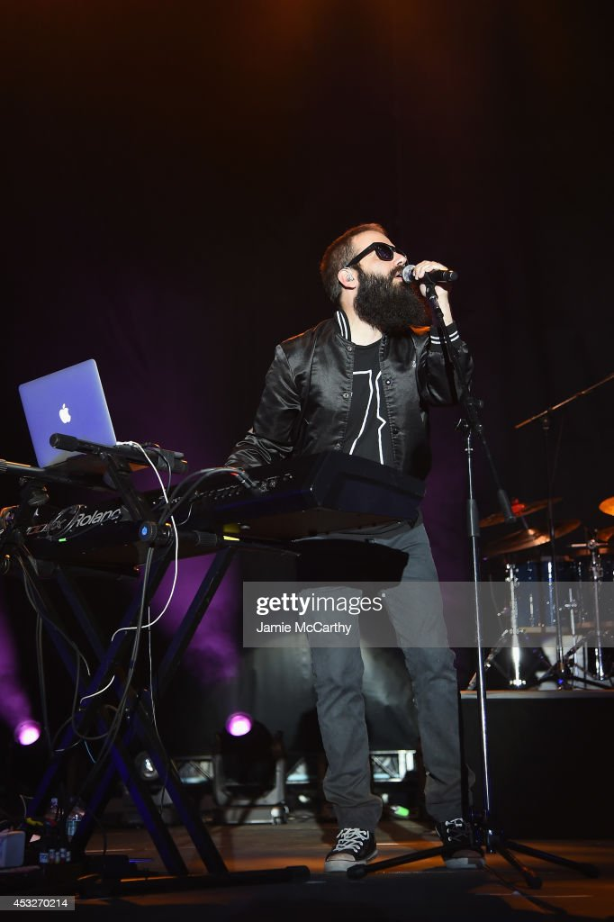 Sebu Simonian of Capital Cities performs onstage at the Drop Your Pants and Dance for Underwareness Concert hosted by Depend on August 6 2014 in New...