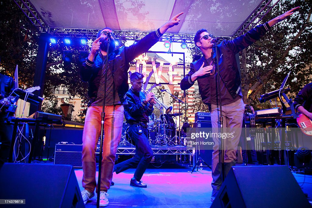 Sebu Simonian, Spencer Ludwig, and Ryan Merchant of Capital Cities performs at the 2013 Grove summer concert series at The Grove on July 24, 2013 in Los Angeles, California.