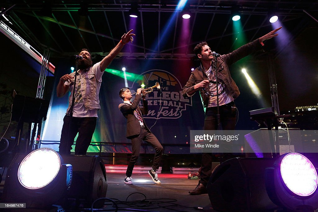 Sebu Simonian, Spencer Ludwig and Ryan Merchant of Capital Cities perform during the L.A. LIVE College Basketball Fan Fest at Nokia Plaza L.A. LIVE on March 29, 2013 in Los Angeles, California.