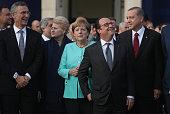 NATO Secetary General Jens Stoltenberg Lithuanian President Dalia Grybauskaite German Chancellor Angela Merkel French President Francois Hollande and...