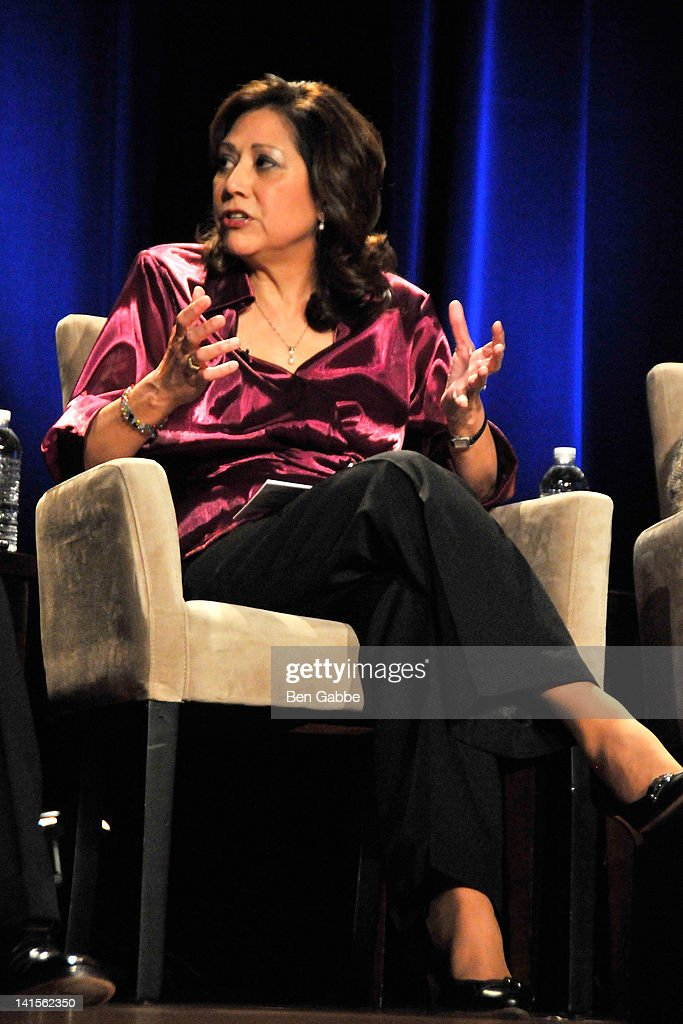 Secetary of Labor Hilda Solis attends the 'Made Visible Women Children Poverty in America' panel discussion at the NYU Skirball Center on March 18...