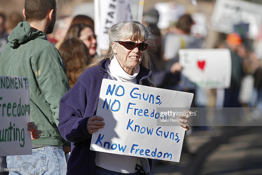 Second Amendment supporter Theresa White of Estes Park, Colorado gathers with other activists in support of gun ownership on January 9, 2013 at the Colorado State Capitol in Denver, Colorado. It was White's first time protesting for the issue and is a member of the National Gun Owners Association. Lawmakers are calling for tougher gun legislation after recent mass shootings at an Aurora, Colorado movie theater and at Sandy Hook Elementary School in Newtown, Connecticut.