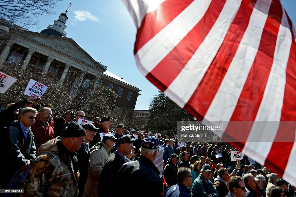 Second Amendment supporters rally against stricter gun control laws at the Maryland State House on March 5, 2013 in Annapolis, Maryland. If the Maryland Firearm Safety Act legislation bill is passed, it would require a license to purchase a handgun, ban the sale of assault style rifles and limit magazine size, among other provisions.